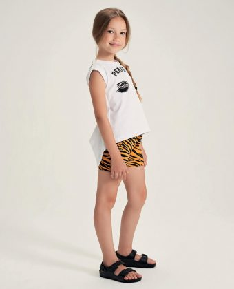 Completo in jersey stretch t-shirt e short fantasia animalier